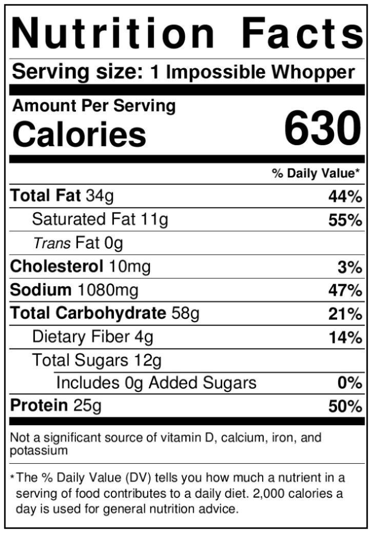 Nutrition fact label for the impossible whopper compared to a regular w