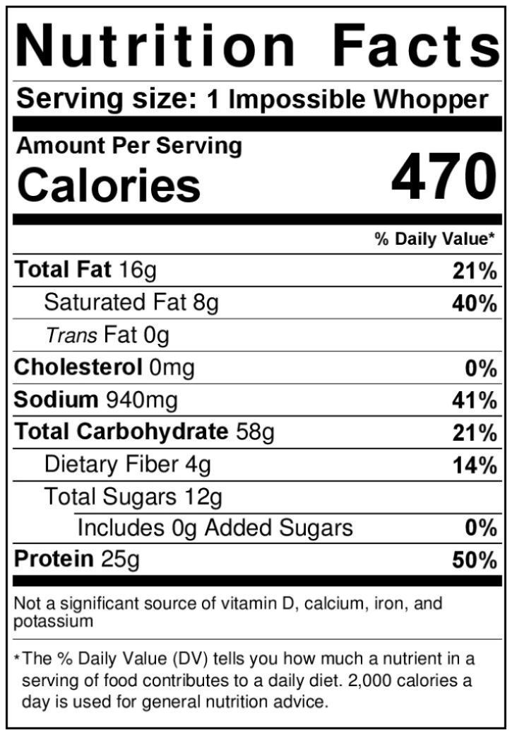 regular whopper nutrition facts label without mayonnaise