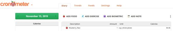 screenshot reviewing how to enter a food in your Cronometer diary